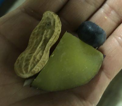 ピーナッツと蒸しイモとブルーベリー