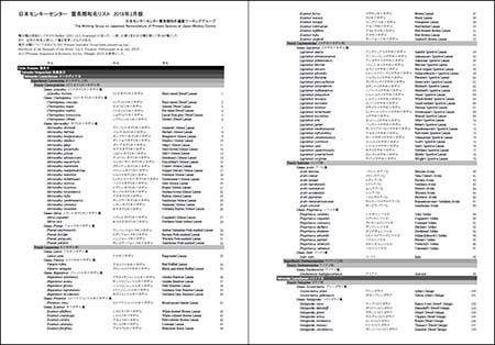 日本モンキーセンター 霊長類和名リスト